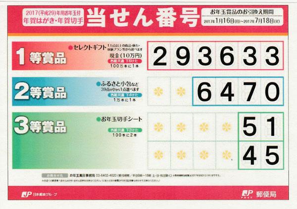 2017年年賀はがき・年賀切手当選番号